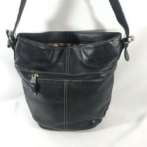 TIGNANELLO Bucket black leather shoulder bag